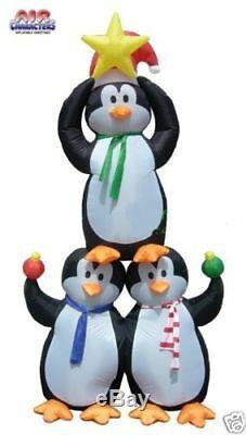 8 Ft Christmas Tree Penguins Santa Hat Scarf Star Air Blown Inflatable Yard Deco