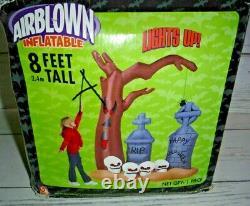 8 Ft Gemmy Airblown Inflatable Halloween Haunted Tree Graveyard Skulls Tombstone
