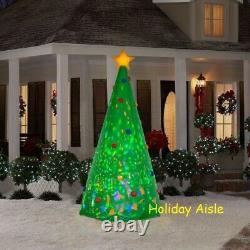 8 Ft KALEIDSCOPE GREEN CHRISTMAS TREE Airblown Yard Inflatable SWIRLING LIGHTS