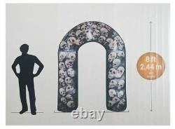 8' Gemmy Airblown Inflatable Halloween Photorealistic Skulls Archway