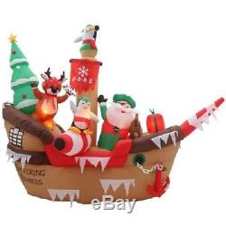 8 ft. Inflatable Giant Christmas Pirate Ship Scene air blown outdoor yard decor