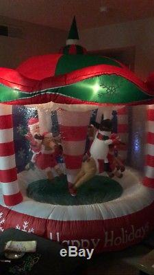 8FT! Rare GEMMY Animated Rotating Happy Holidays CAROUSEL Airblown Inflatable