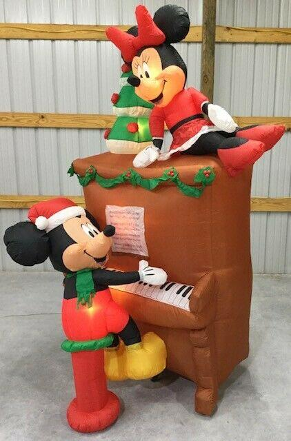 8ft Gemmy Airblown Inflatable Prototype Christmas Mickey And Minnie Piano #39876