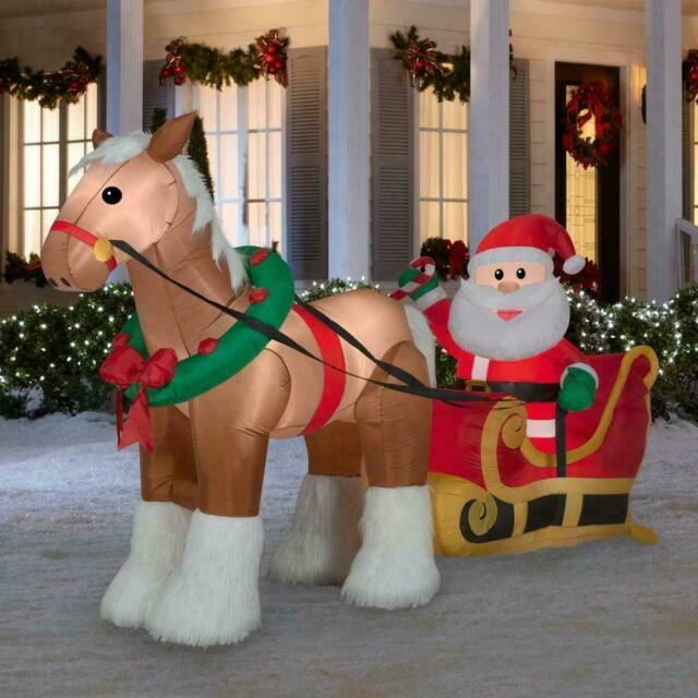 9.5 Ft Clydesdale Horse And Santa Sleigh Christmas Airblown Yard Inflatable
