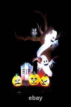 9 Foot Halloween Inflatable Yard Decoration Tree Ghost Pumpkins Tombstone Blowup