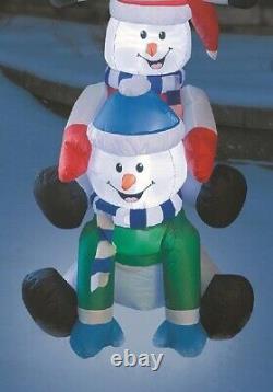 9 Ft Christmas Lighted Snowmen Wearing Santa Hats Airblown Inflatable Yard Decor