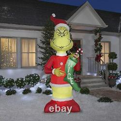 9 Ft GIANT GRINCH WITH NICE STOCKING Airblown Lighted Yard Inflatable