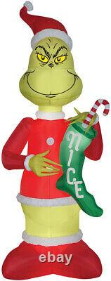 9 Ft GRINCH w Stocking Lighted INFLATABLE OUTDOOR CHRISTMAS Yard Decor Airblown