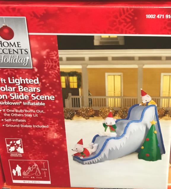 9 Ft Lighted Inflatable Airblown Polar Bears On Slide Scene Christmas Outdoor