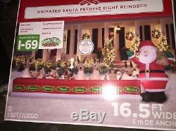 ANIMATED SANTA FEEDING EIGHT REINDEER STABLE16.5 Ft Wide INFLATABLE YARD NIB