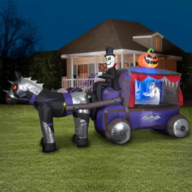 Airblown Inflatable Mixed Media Carriage Hearse With Bride Colossal