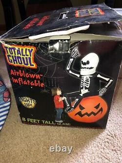 Airblown Inflatable Skeleton Man On Pumpkin 8 Ft Gemmy Rare halloween htf