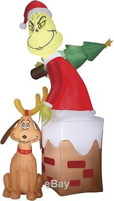 Airblown Pre-Lit Grinch & Max in Chimney Inflatable, 5.5-ft