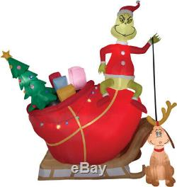 Airblown-grinch Max In Sleigh Animated Brand New Inflatable
