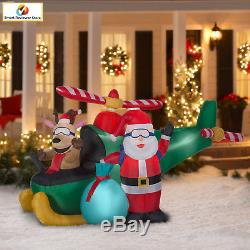 Animated Airblown-Santa and Reindeer in Helicopter Scene by Gemmy Industries