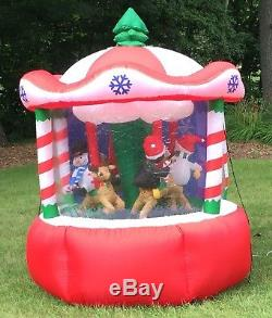 Animated Carousel Airblown Inflatable Gemmy Christmas Santa Clause 7ft 2005