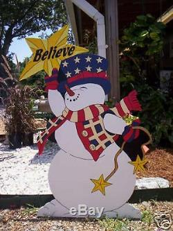 BELIEVE SNOWMAN Winter Yard Art Decoration