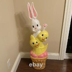 Blow Mold Easter Don Featherstone Bunny Duck Basket Stack Union Products