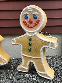 Blow Mold Gingerbread Collection Tree Girl Boy Colored Icing Don Featherstone