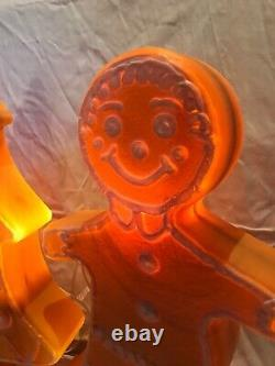 Blow Mold Gingerbread Collection Tree Girl Boy White Icing Don Featherstone