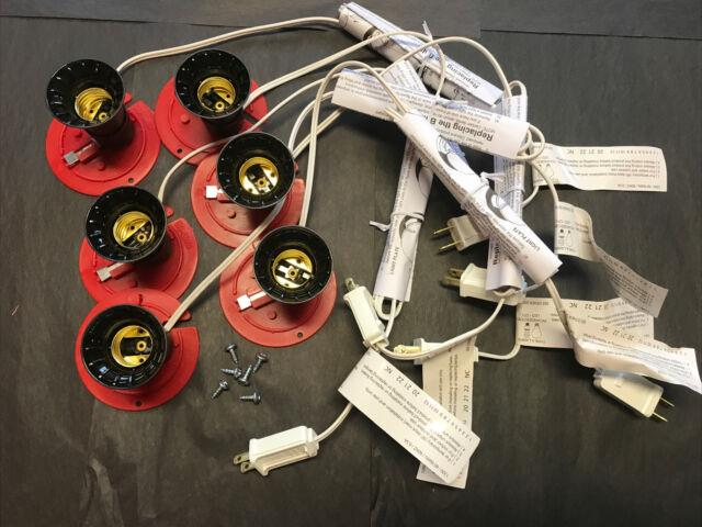 Blow Mold Light Cords Red Plates Full Size Socket General Foam New Lot Of 6