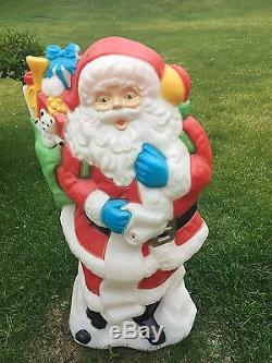 Blow Mold Santa Claus Christmas Stocking 42 Lighted Vintage TOYS RARE