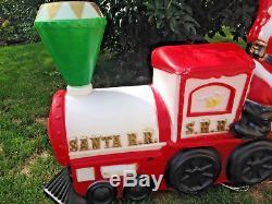 Blow Mold Santa Claus Red Train Tender Smoke Stack RARE