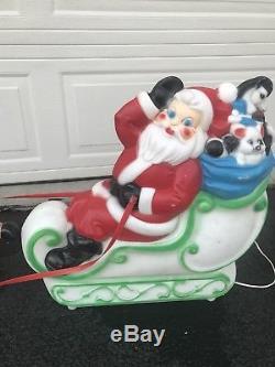 Blow Mold Santa Claus Sleigh Christmas Empire Medium Size! Outdoor Lighted
