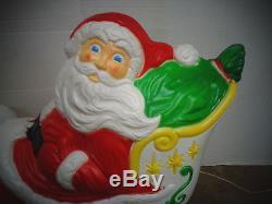 Blow Mold Santa Claus Sleigh Christmas Grand Venture Holiday Yard Decoration