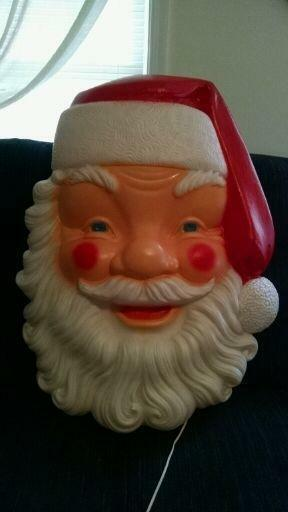 Blow Mold Santa Face Large Lighted Blow Mold, With Cord