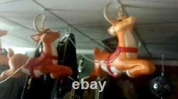 Blow Mold Santa Noel Sleigh and 9 Flying Reindeer