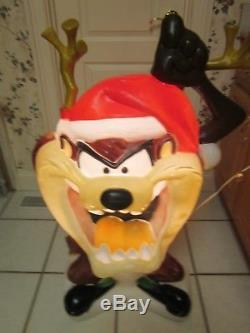 Blow Mold Taz Christmas Outside Lighted Decoration Used Vintage Looney Tunes