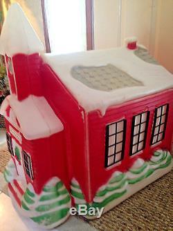 Blow Mold Vtg Christmas Rare School House Htf Large Size
