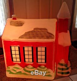 Blow Mold Vtg Christmas Rare SCHOOL HOUSE HTF Large Size Lighted Lawn Ornament