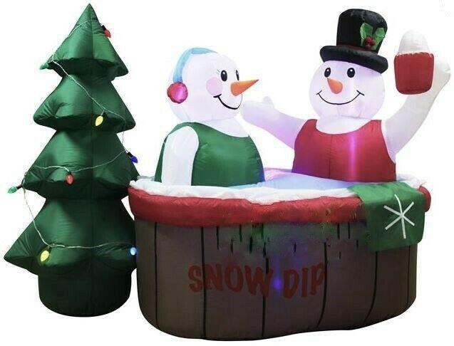 Christmas 7 Ft Snowman Couple In Hot Tub Airblown Lighted Yard Inflatable