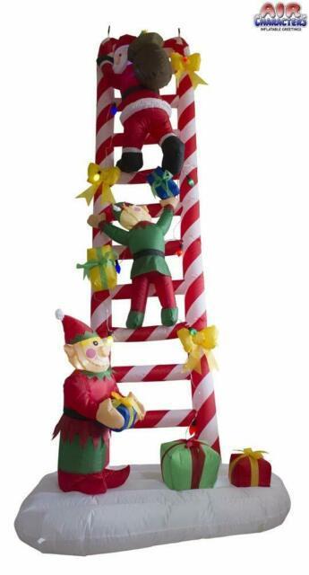 Christmas 8 Ft Santa & Elves Climbing A Candy Cane Ladder Air Blown Inflatable