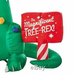 CHRISTMAS DINOSAUR T-REX AND BABY DECORATING TREE 7 FT Inflatable airblown