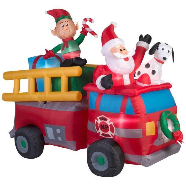 Christmas Firetruck With Santa Lighted Airblown Inflatable Yard Decor