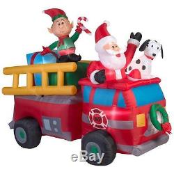 Christmas Firetruck With Santa Lighted Airblown Inflatable