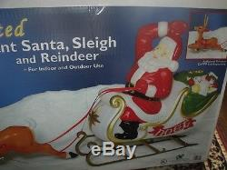 Christmas Lighted 6' Giant Santa Claus Sleigh Reindeer Deer Blow Mold Yard Set 2