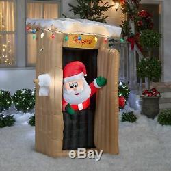 CHRISTMAS SANTA ANIMATED OUTHOUSE BATHROOM Airblown Inflatable GEMMY