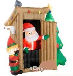 CHRISTMAS SANTA ANIMATED OUTHOUSE ELF BATHROOM Airblown Inflatable GEMMY