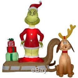 CHRISTMAS SANTA DR SEUSS GRINCH & MAX SLED SLEIGH Airblown Inflatable GEMMY