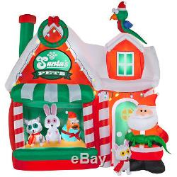 Christmas Santa Pet Shop Workshop 8 Ft Inflatable Airblown Yard Decor