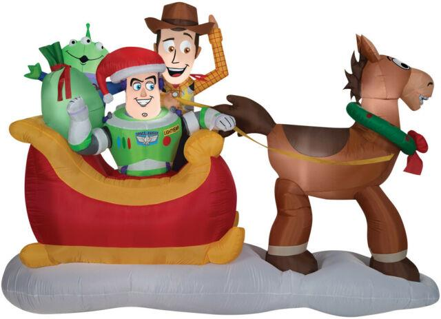 Christmas Toy Story Woody & Buzz Sled Sleigh Airblown Inflatable Yard Decoration