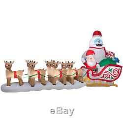COLOSSAL RUDOLPH & FRIENDS ON GIANT SLEIGH Airblown Yard Inflatable 16.5 FT Long