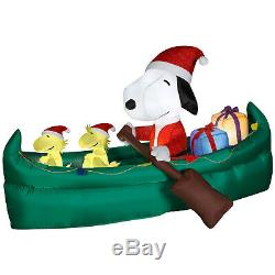 Christmas 6 Ft Santa Snoopy Animated Canoe Airblown Inflatable Yard Gemmy Peanut