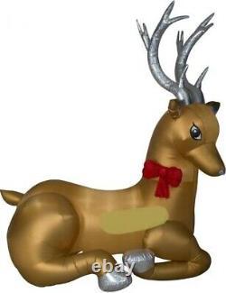 Christmas 8.5 Ft Santa Reindeer Mixed Media Airblown Inflatable Yard Gemmy