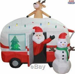 Christmas 8 Ft Air Blown Inflatable Santa Camper RV Scene Yard Art Decoration