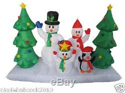 Christmas 94 Snowman Family Tree Penguin Airblown Inflatable Lighted Yard Decor